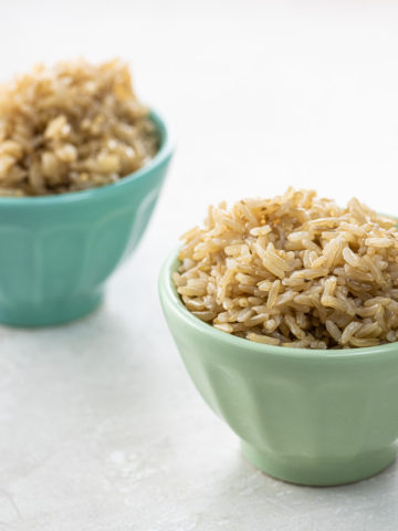 basmati brown rice in two small bowls