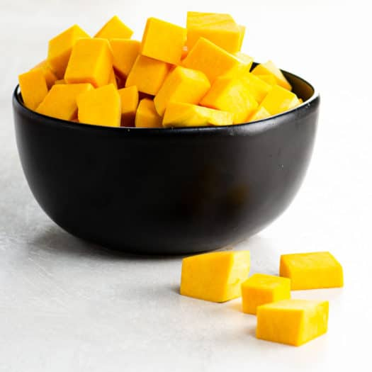 a bowl of diced butternut squash for cooking skills category