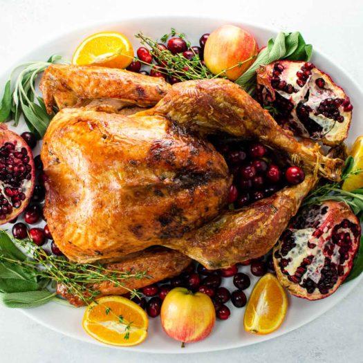 Free range turkey on a platter for Best Thanksgiving Recipes