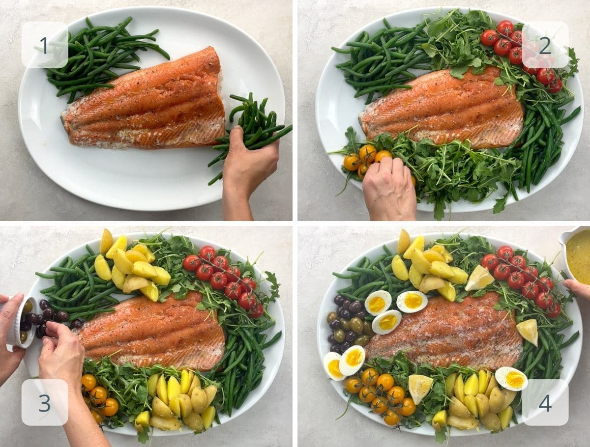 assembling a salad platter step by step