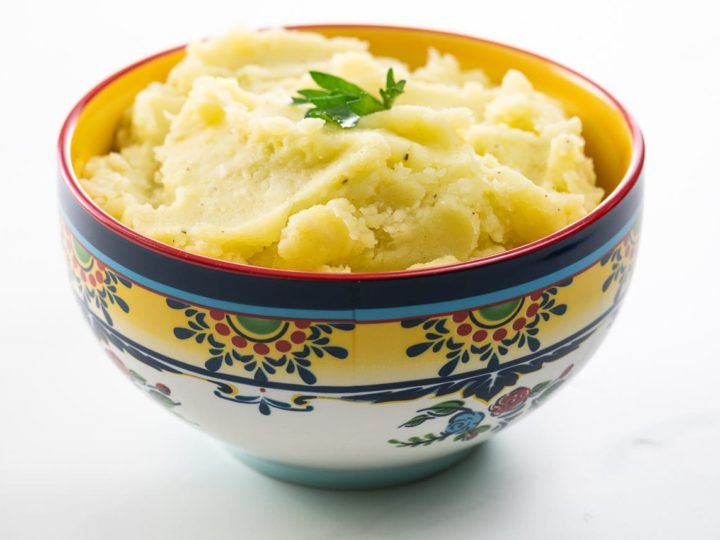 mashed potatoes (dairy free) in an ornate bowl