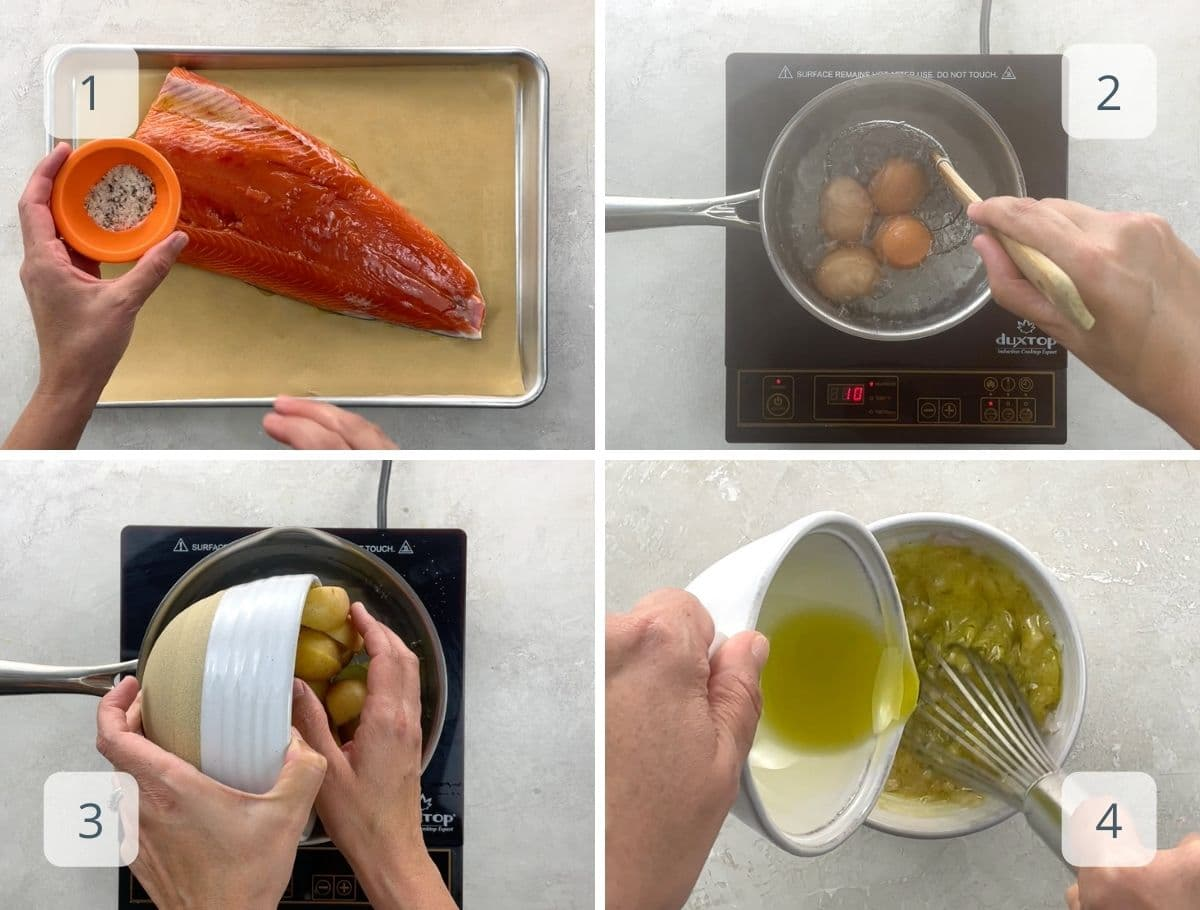 preparing the elements of the salad step by step
