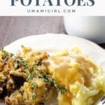 yukon gold mashed potatoes from a small batch on a plate with stuffing and gravy