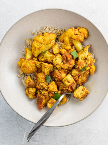 tofu cauliflower curry in a bowl
