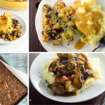vegetarian meals with mashed potatoes including shepherd's pie, mushroom bourguignon, nut loaf, and stuffing