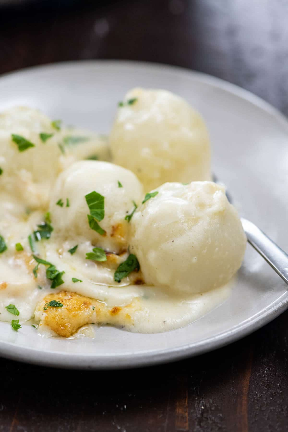 creamed pearl onions on a plate