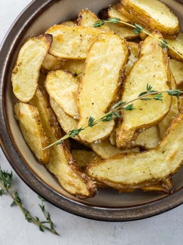 salt and vinegar fingerling potatoes in a bowl