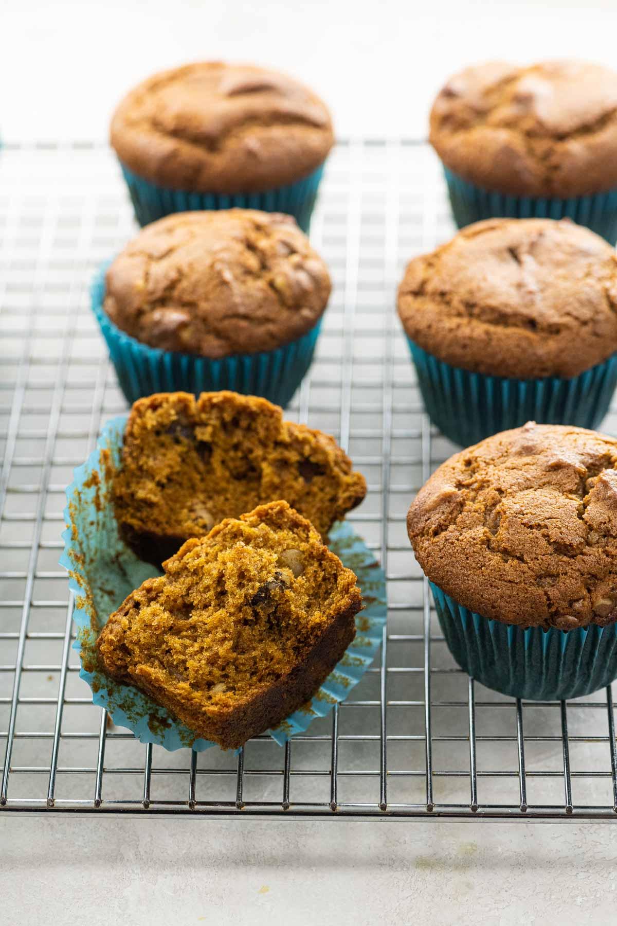 vegan pumpkin muffins on a cooling rack